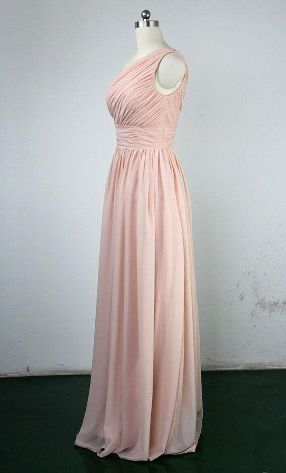 Pearl pink bridesmaid dress sheath column one shoulder for 20 dollar wedding dresses