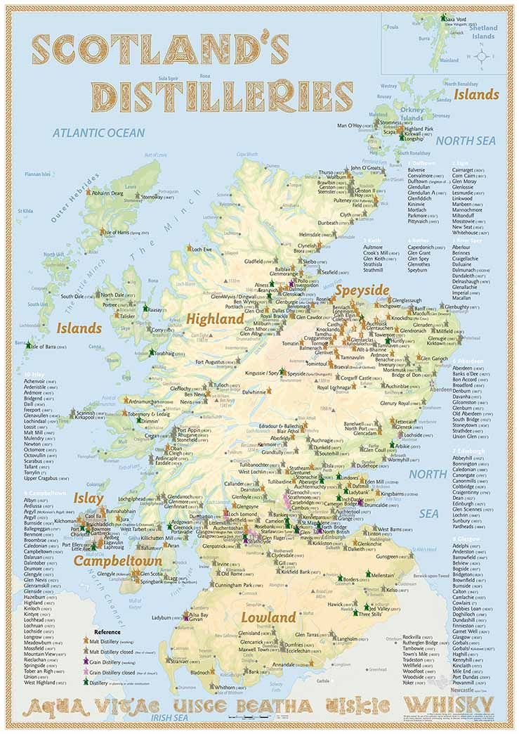 New Scotland S Distilleries Map With All Whisky Distilleries In