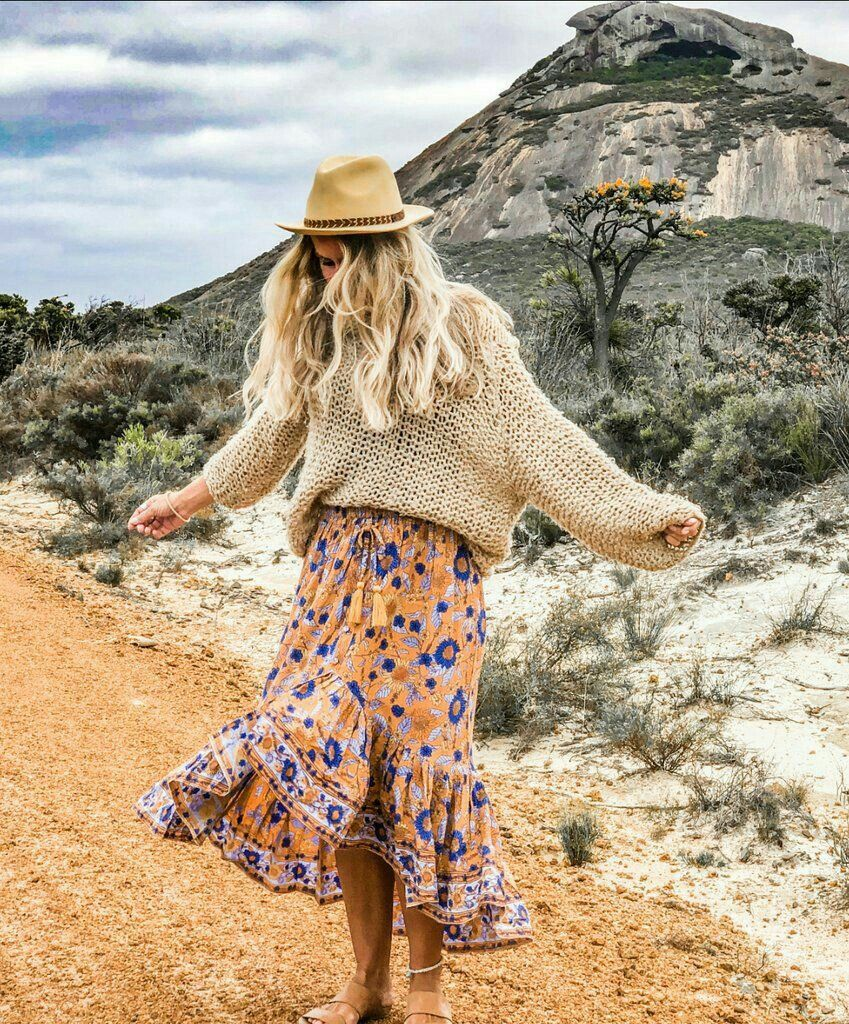 Fall Outfit Floral Print Maxi Skirt Boho Sweater Boho Winter Outfits Floral Print Maxi Skirt Bohemian Style Clothing [ 1024 x 849 Pixel ]