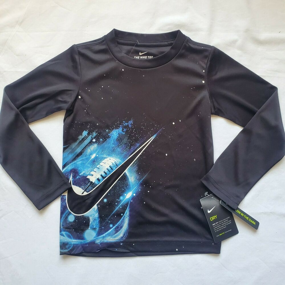 Nike Long Sleeved Shirt Size 4t Black Football Athletic Glow In Dark T Shirt Nike Athletic Boys T Shirts Kids Outfits Shirts [ 1000 x 1000 Pixel ]