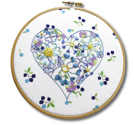 Floral Hoop Art Beginner Embroidery Pattern Of A Heart Filled With