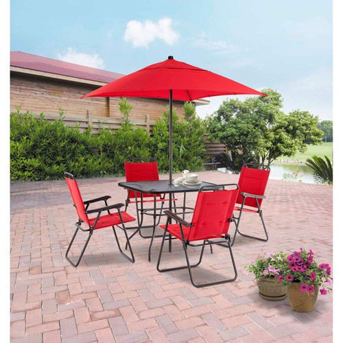Outdoor Patio Furniture Dining Set 4 Folding Chairs Umbrella Table Garden Red Mainstays