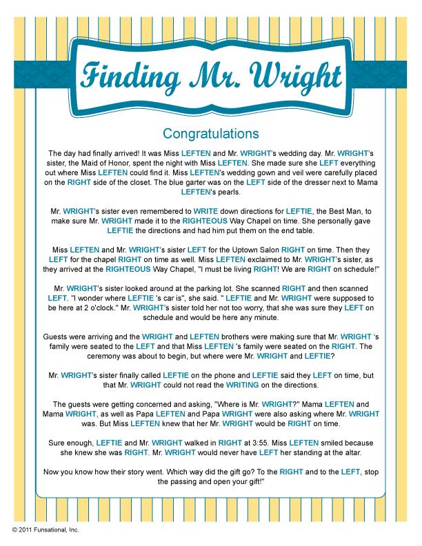 Wedding Shower Finding Mr Wright