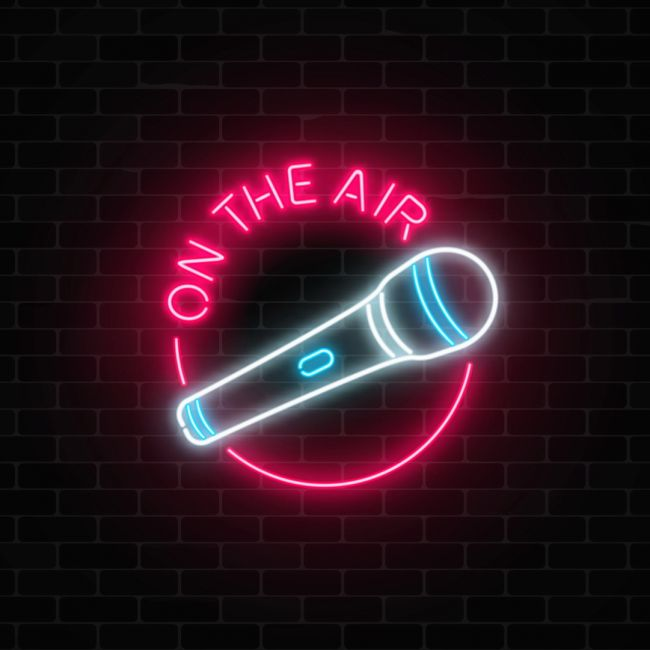 On The Air With Microphone Led Neon Sign Neon Signs Neon Art Neon
