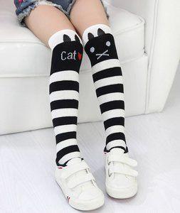 kinder kniekousen kat zwart wit