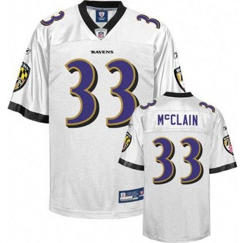 Reebok Baltimore Ravens #33 Le'Ron McClain White Stitched NFL ...