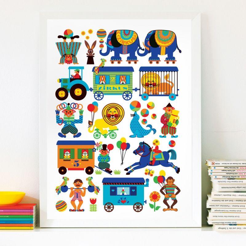 Zirkus Poster - Kinderposter im als Kinderzimmer Deko | byGraziela ...
