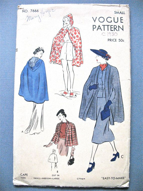 1930s Vogue 7666 Hooded Cape in Several Variations by Fancywork