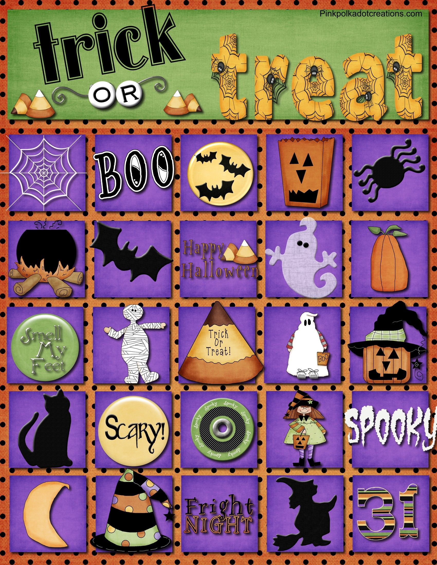 Fun, Trick or Treat Bingo game with calling cards. Free Printable ...