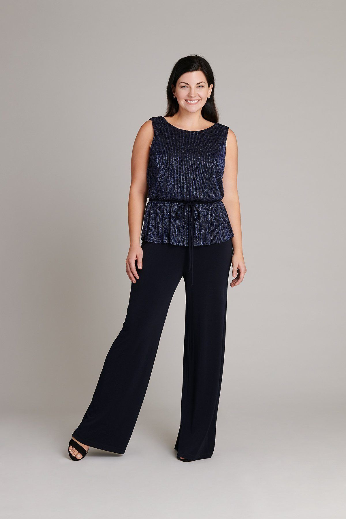 18726023c27 The Madison Pleated Metallic Knit Jumpsuit