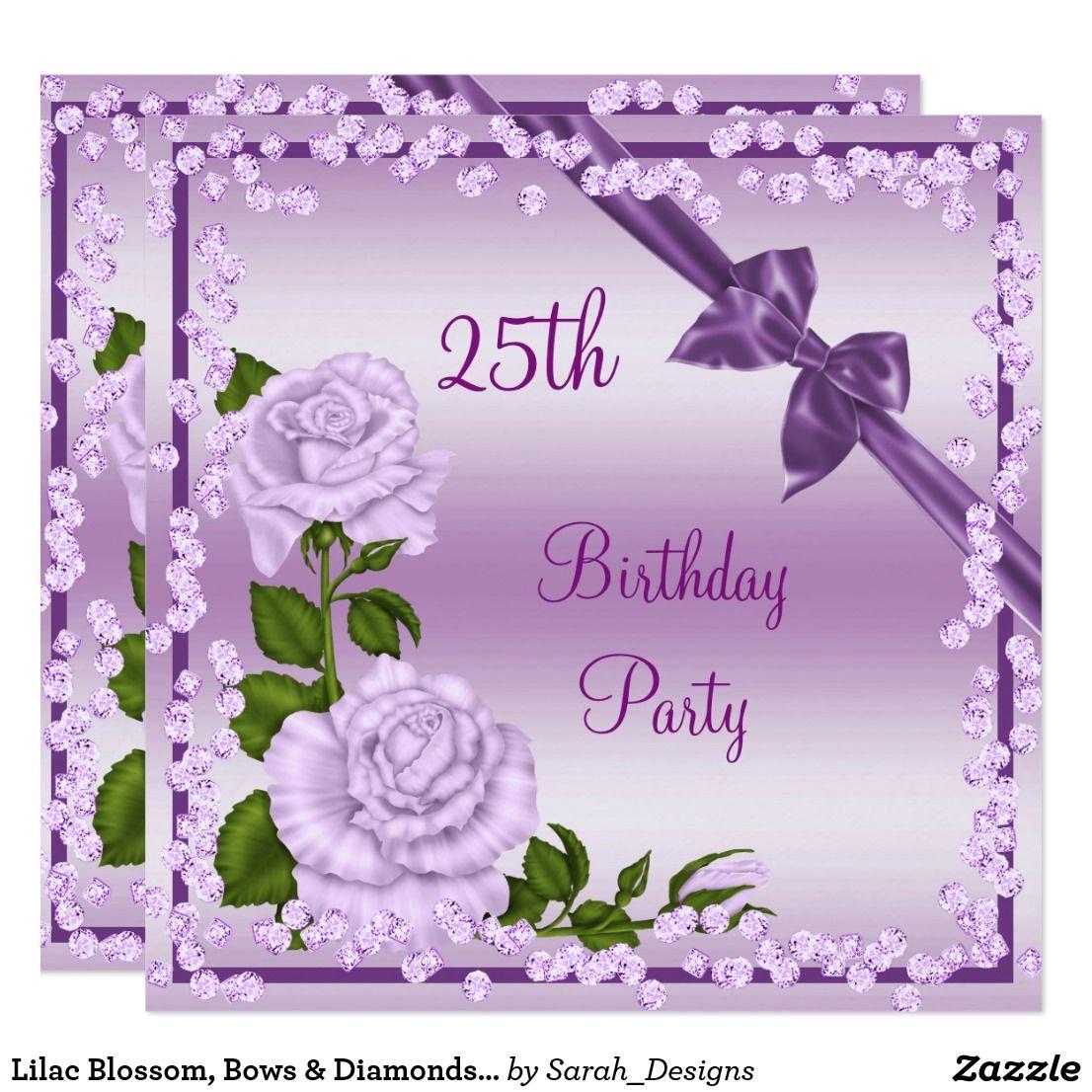 Lilac Blossom Bows Diamonds 25th Birthday Invitation Pinterest