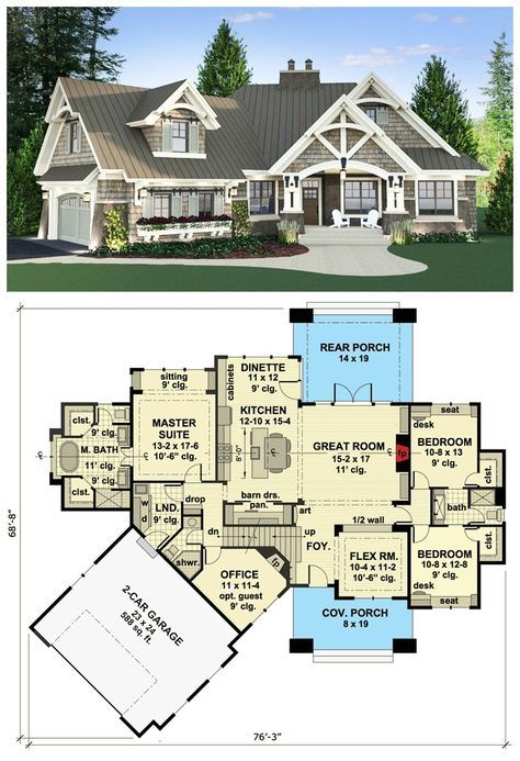 Magnificent Curb Appeal This Craftsman house plan will wow you with its magnific…