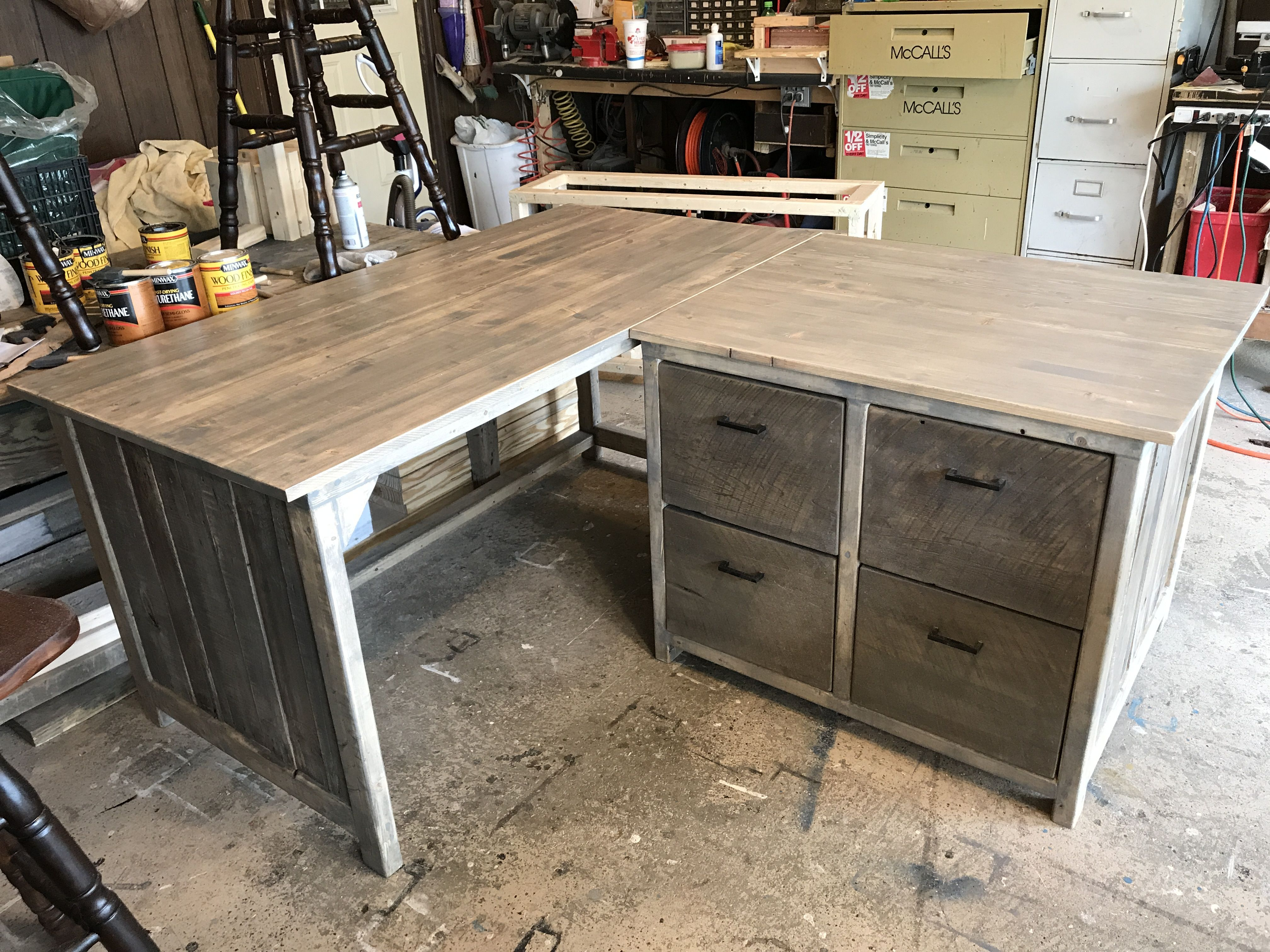 Rustic L Shaped Desk With Filing Cabinet Drawers File Cabinet