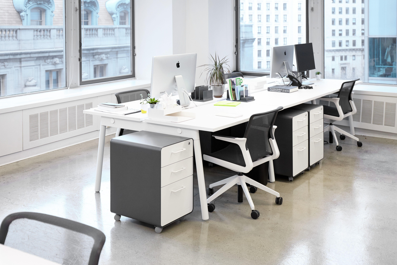 Series A Double Desk For 4 White Legs Modern Office Furniture Poppin In 2020 Double Desk Office Furniture Modern Desk