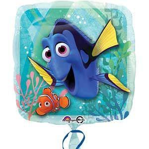 1 Finding Dory folie ballon van de populaire Disney film Finding Dory. Deze ballon is leuk om te vullen met helium. De ballon is metallic (glanzend) en is zo'n 43cm.