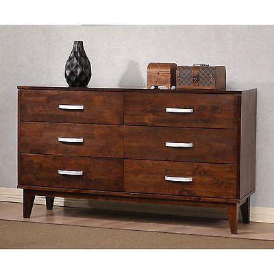 Wooden 6 Drawer Long Contemporary Modern Bedroom Dresser Office Chest Furniture