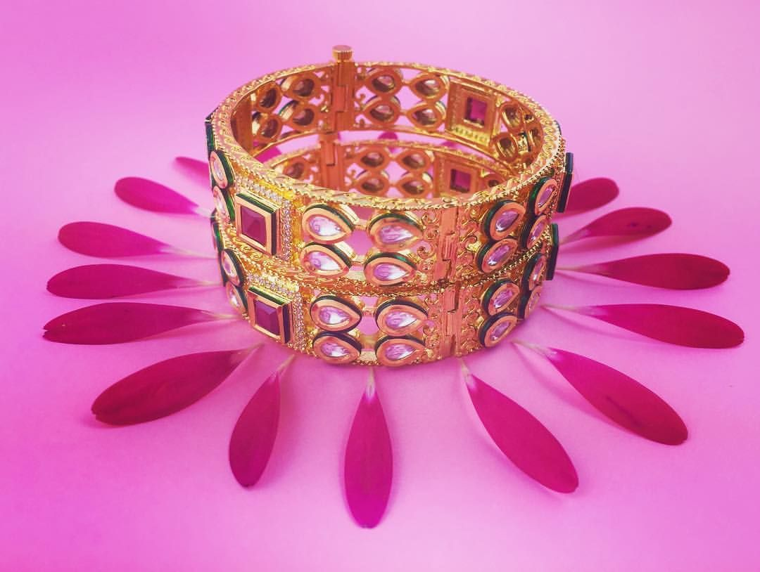 Gold kundan bangles by blingtobe we specialize in bridal and