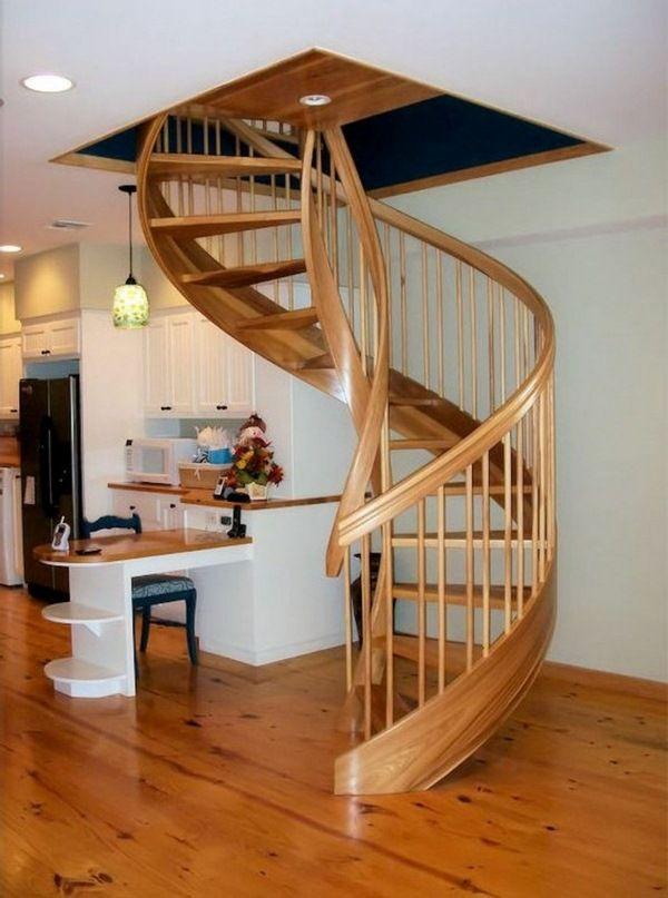 Best Spiral Staircase Interior Design Massive Wood Interior 400 x 300