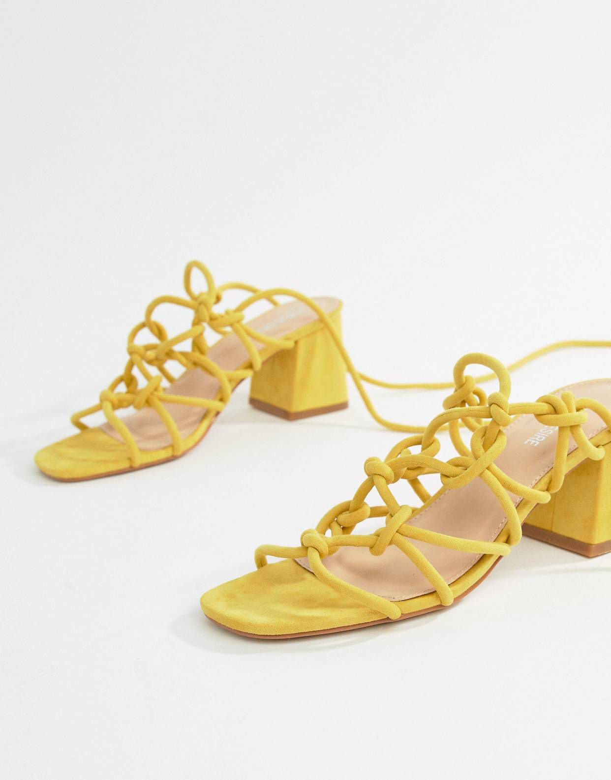 f9196c162e4 Public Desire Freya Yellow Mid Block Heeled Sandals