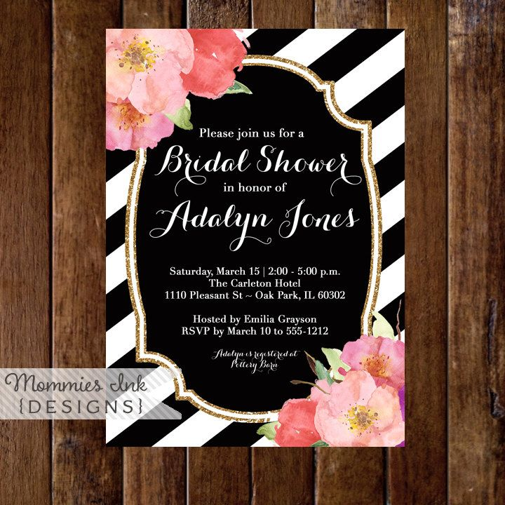 Black And White Stripes Baby Shower Invitation Watercolor Flowers On ...