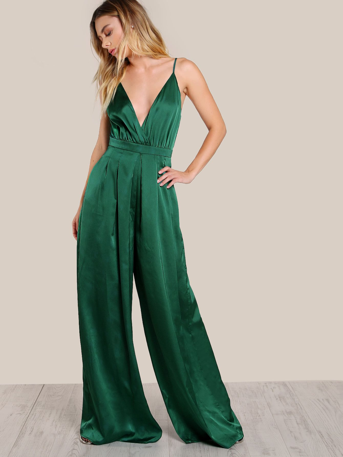 fc1a6225 SheIn offers Surplice Front Box Pleated Culotte Leg Cami Jumpsuit & more to  fit your fashionable needs. Emerald ...