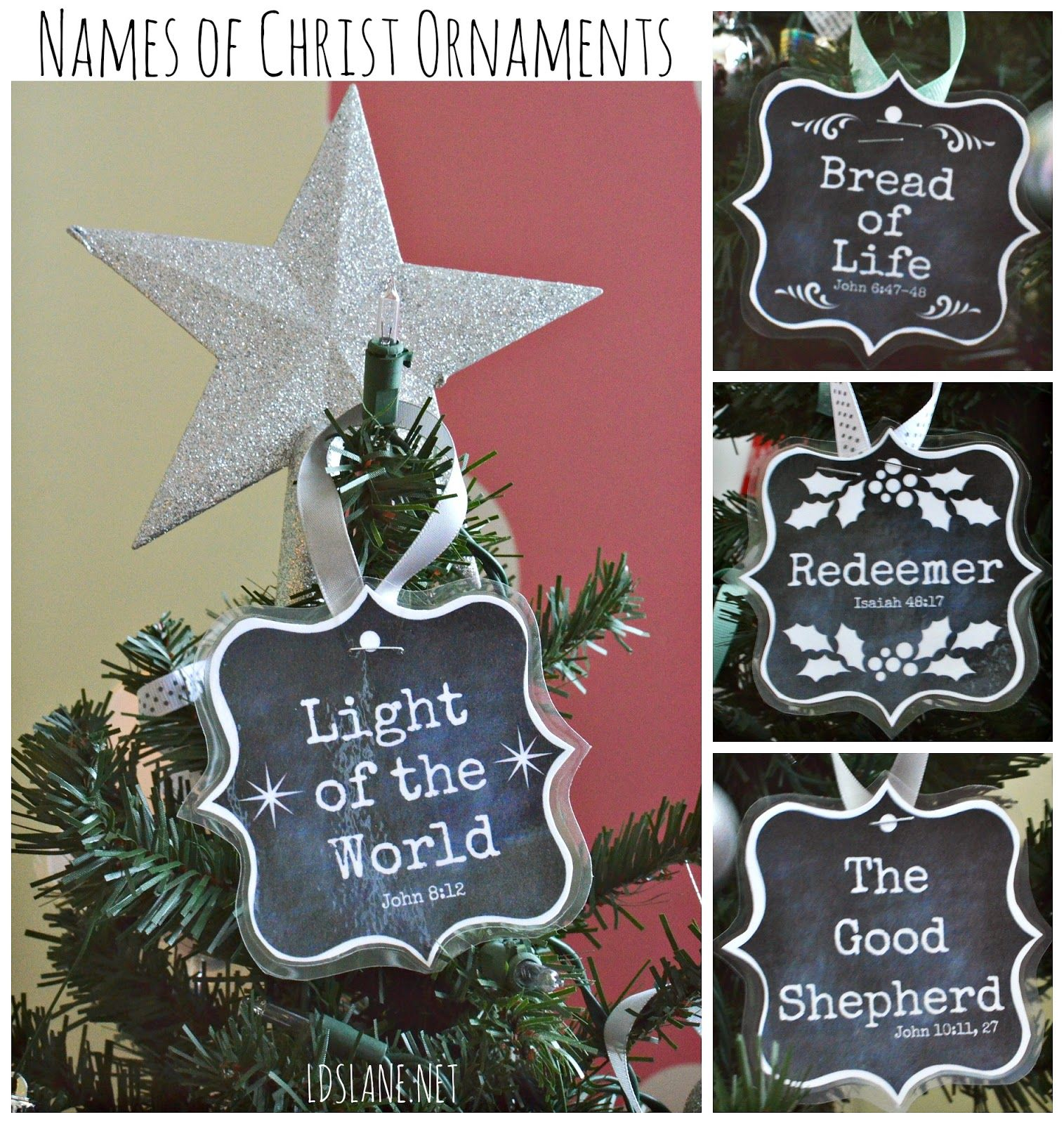 Lds Lane Names Of Christ Free Printable Ornaments Relief Society Christmas Gifts Relief Society Christmas Lds Christmas