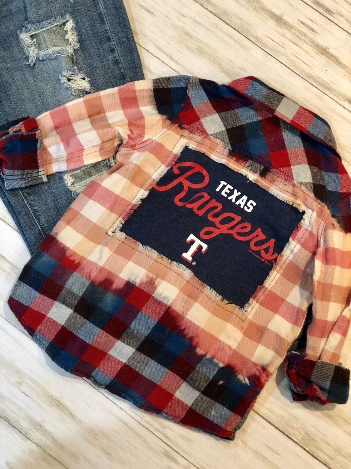 Kids Size 6 Texas Rangers Flannel Bleached Distressed Vintage Etsy Flannel Upcycle Bleached Flannel Shirt Flannel Shirt Refashion