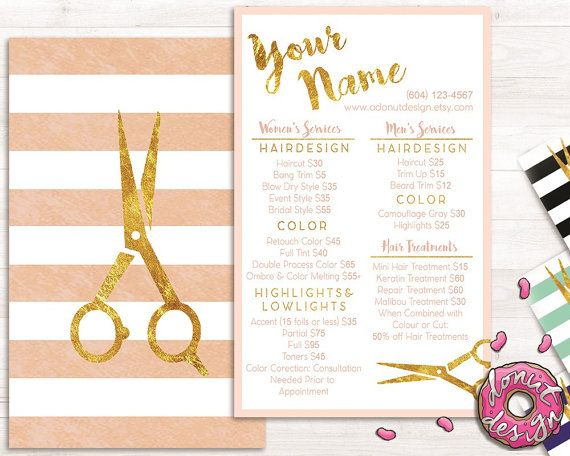 Premade gold striped hair stylist service list, price list, salon