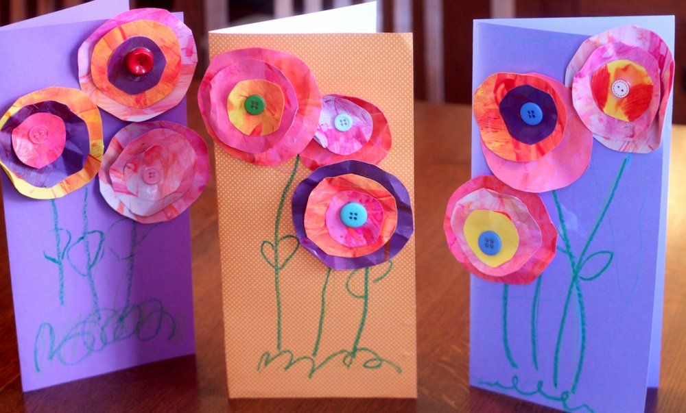 Mother 39 s day craft for kids to make flower cards flower for Creative mothers day ideas for wife