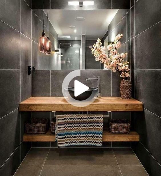 Idée décoration Salle de bain Tendance Image Description Beautiful bathroom. Love! Wooden Vanity. Large Grey Tiles. #homedesignideas #homedecorideas #interiordesignideas #decorationideas #bahtroomdesignideas #bathroomdecorideas #updatedhome