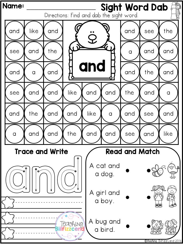 Free Sight Word Fluency Dab It Preschool Sight Words Teaching Sight Words Sight Words