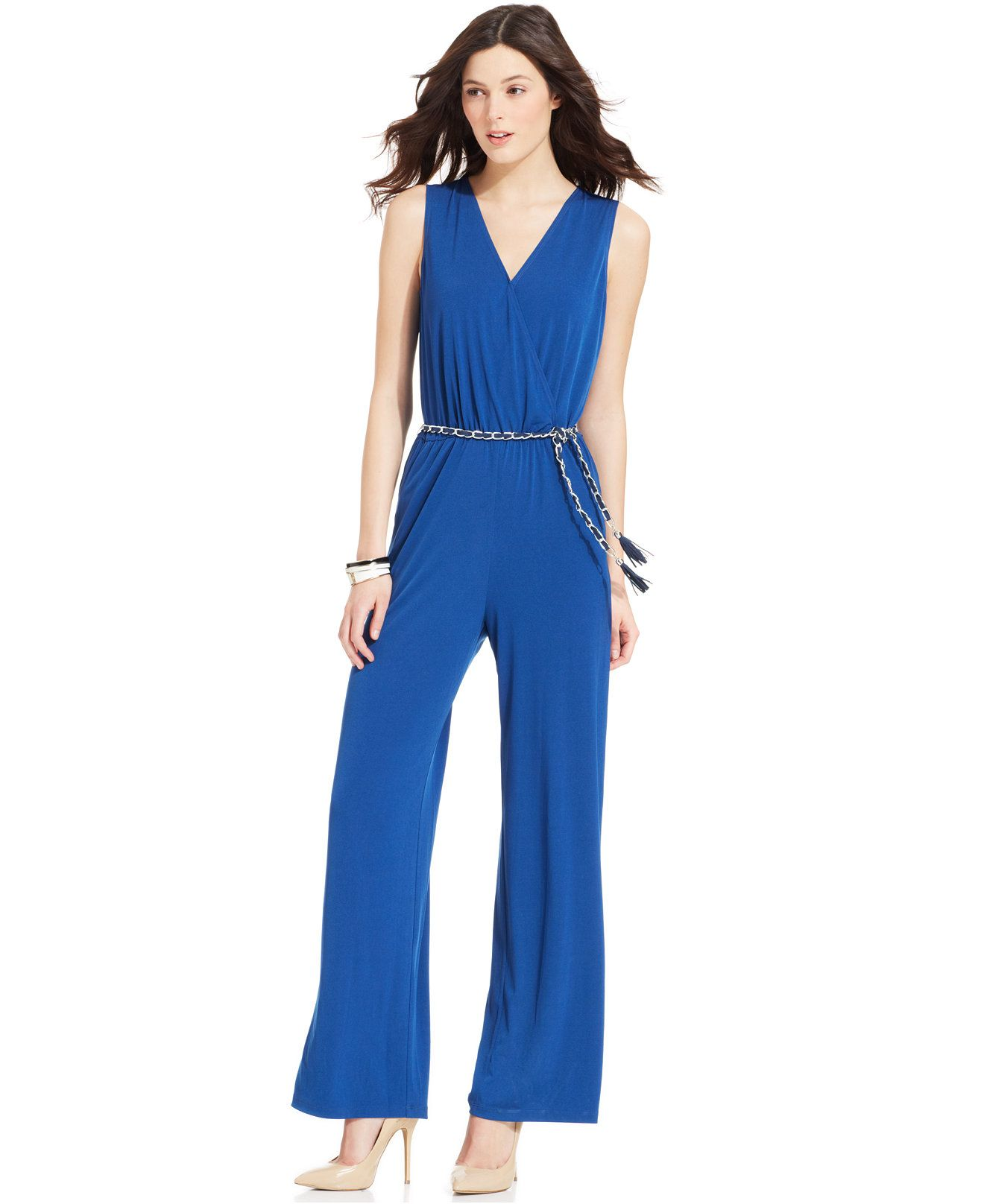 cf67e562fd0 NY Collection Sleeveless Chain-Belt Jumpsuit - Jumpsuits & Rompers - Women  - Macy's