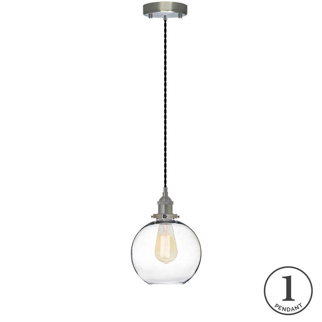Pendant Light Black Twisted And Glass Globe Single Pendant