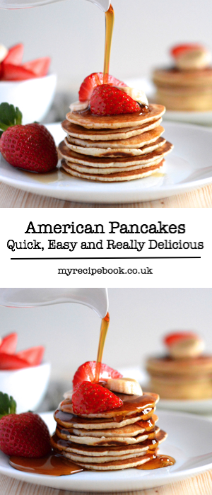 American pancake recipe. Quick and simple to make and delicious served with fresh fruit and maple syrup.
