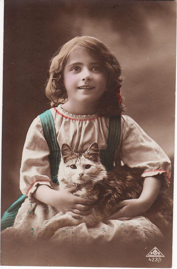 1910s...Sweet Little Girl with Cat....original vintage postcard