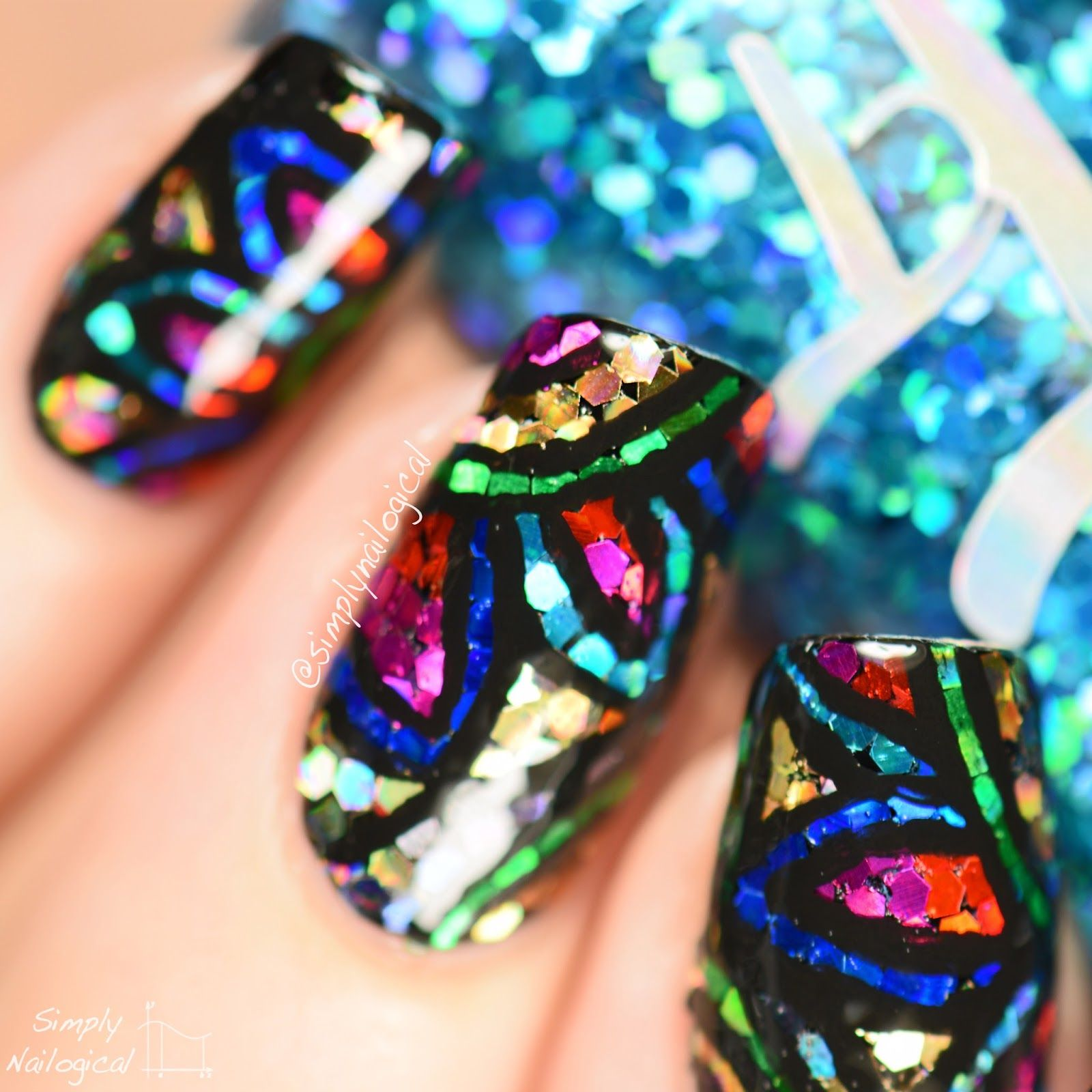 Stained Glass Nail Art: Simply Nailogical: Stained Glass Glitter Placement + Easy