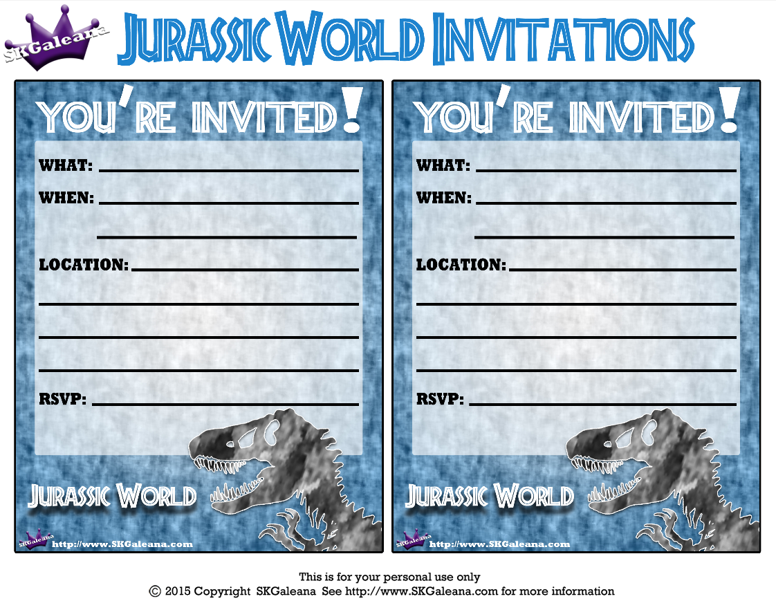 Birthday Invitations Gabriel Skgaleana Free Jurassic World Printables