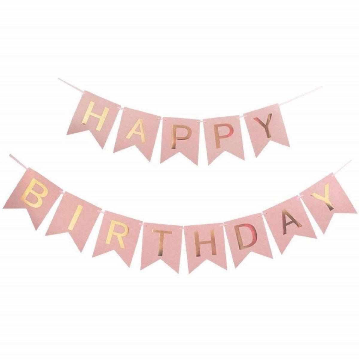 Pink Pom Poms Hanging Swirl Set, Happy Birthday Bunting Banner Party Decoration