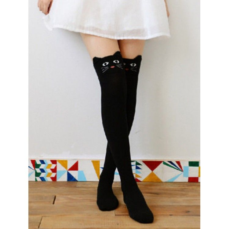 7b0a224bd02 Super kawaii black knee high neko socks with soft plush ears.  Neko  Cat   Kawaii  KneeHighSocks