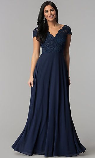 Long Navy Blue Embroidered-Bodice V-Neck Prom Dress #navyblueshortdress