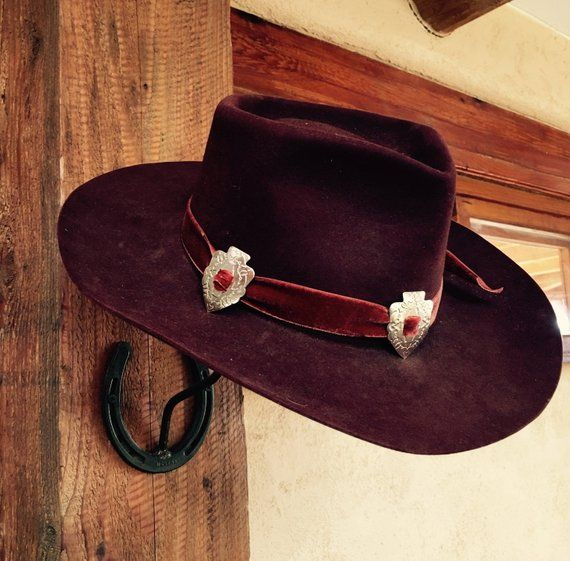 b90bb9725b198c SOLD OUT Vintage Stetson Black Cherry 3X Beaver Cowboy Western Hat with Red  Velvet Hatband Silver Ar