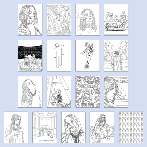 Billie Eilish Coloring Book Digital Pdf Billie Eilish Store Coloring Books Earth Day Coloring Pages Billie Eilish