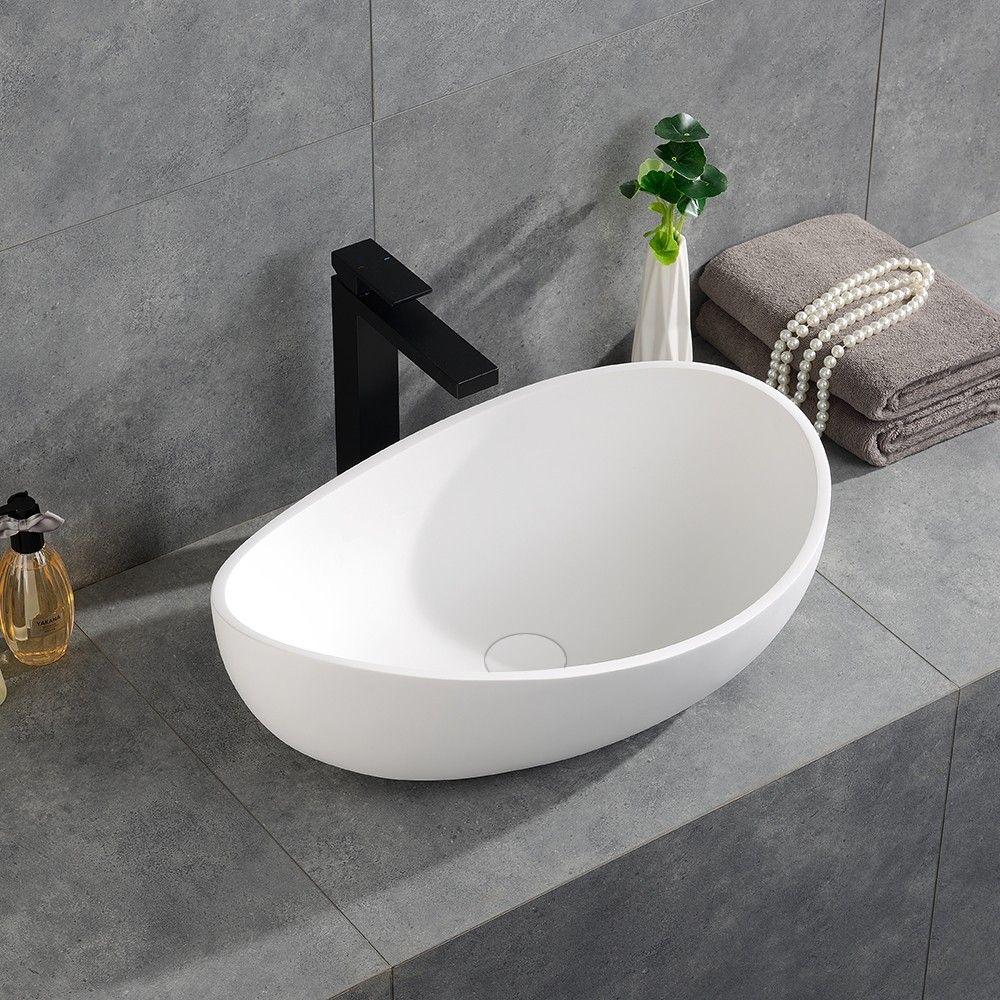 Bathroom Stone Resin Oval Vessel Sink Modern Art Sink Matte Glossy White With Pop Up Drain Sink Vessel Sink Minimalist Bathroom White oval vessel sinks