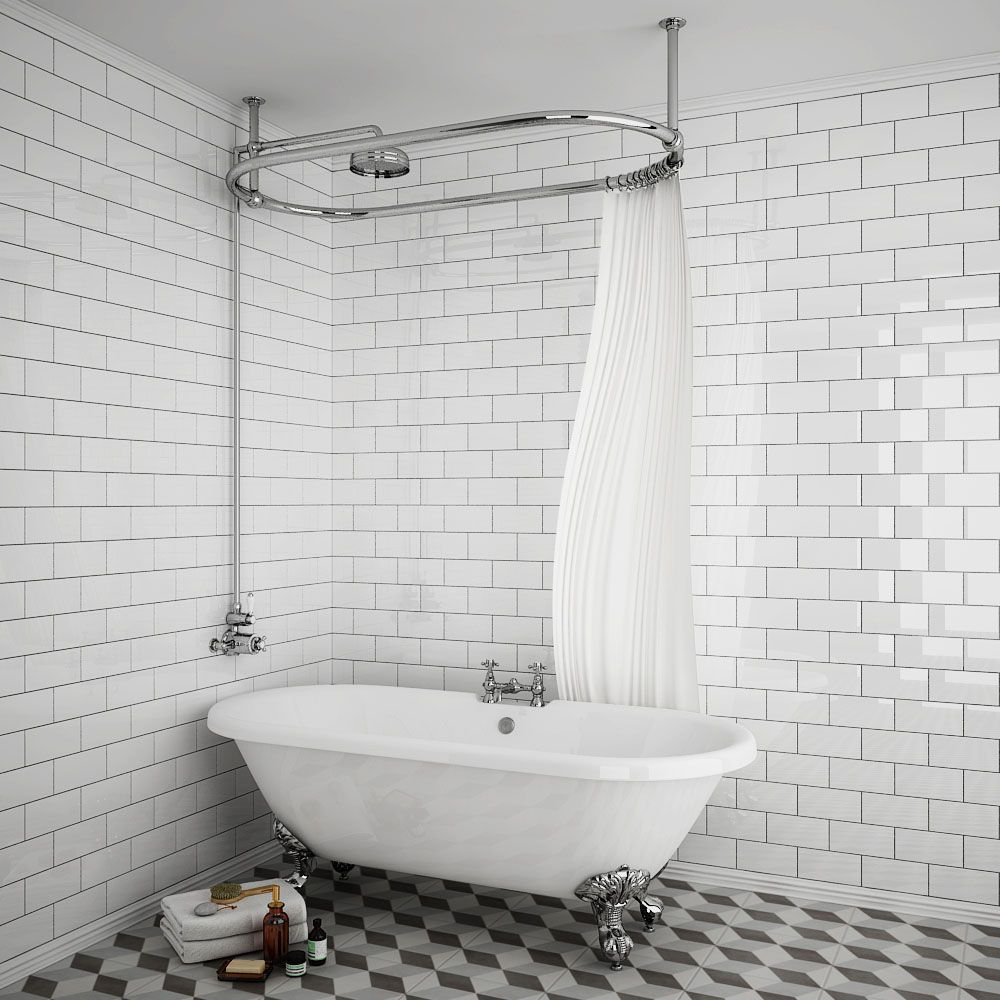 Chatsworth 1500 X 700mm Oval Shower Curtain Rail With 200mm Rose Exposed Shower Valve Victorian Plumbing Uk Curtain Rails Shower Valve Shower Curtain Rods