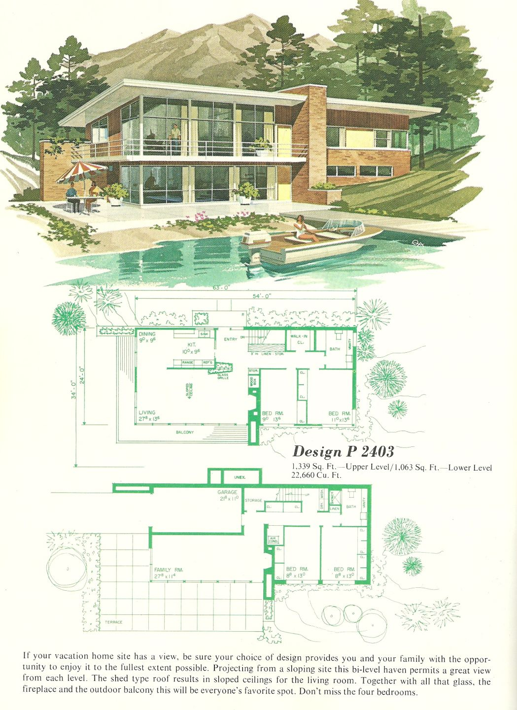 Vintage Vacation Homes 2403 Mid Century Modern House Plans Vintage House Plans Mid Century Modern House