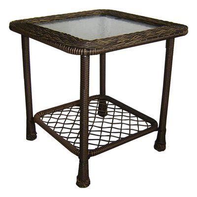 Garden Treasures Severson Square Wicker Glass Top Side Table