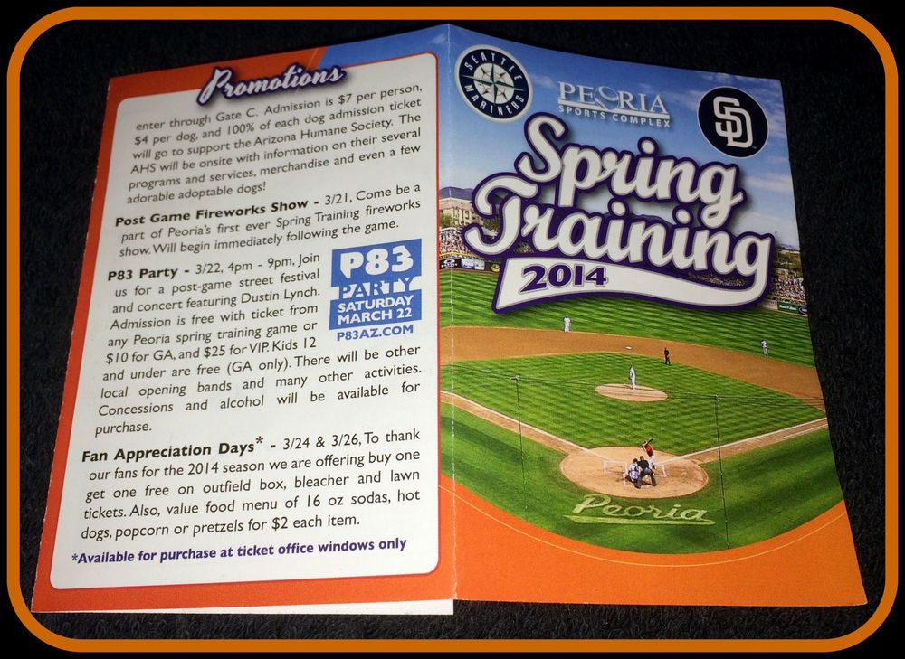 LOT OF 10 2014 PEORIA SPORTS COMPLEX SPRING TRAINING