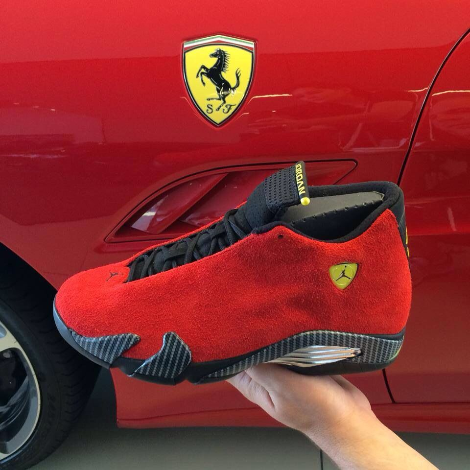 Ferrari Red Jordan 14 Retro Sneakerhead Nba Race Car Mancave Sneakers Men Fashion Bling Nike Shoes Shoes Mens