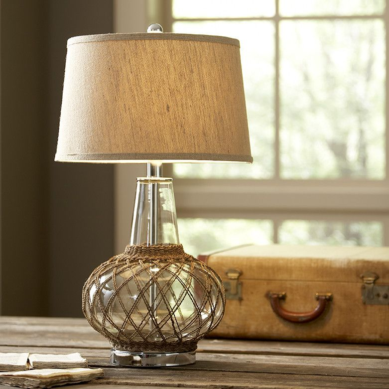 Ryan Glass Table Lamp With A Wide Twine Wrapped Glass Base This