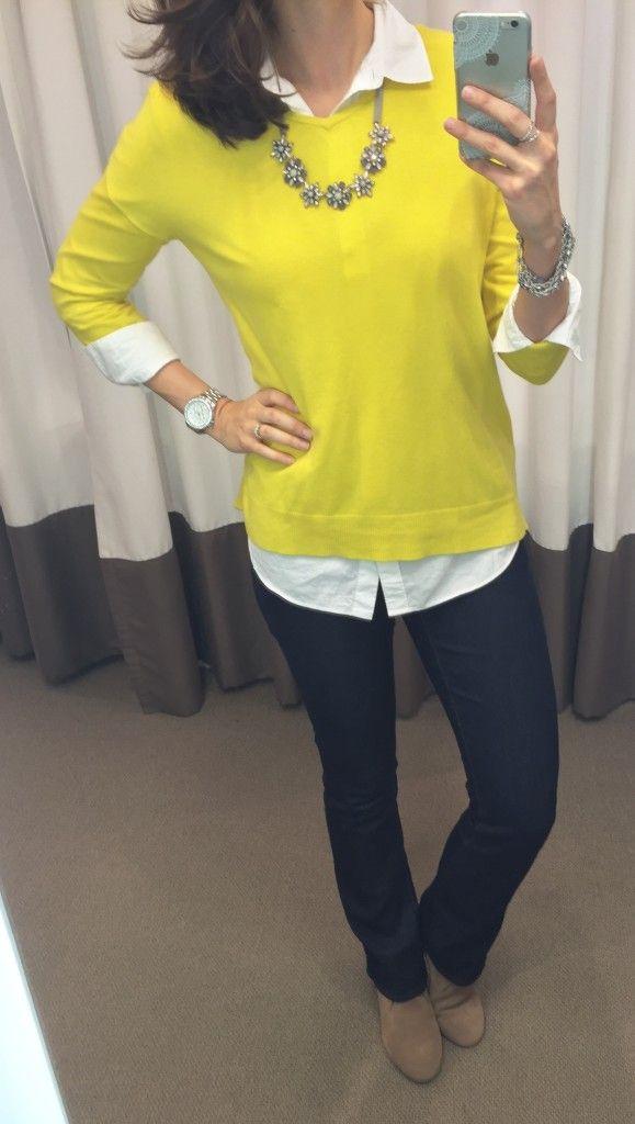 Yellow Lou&grey sweater, @LOFT white button down shirt, boot cut ...